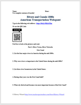 Rivers and Canals 1800s: American Transportation Webquest