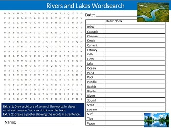 Rivers and Lakes Wordsearch Puzzle Sheet Keywords Activity Geography