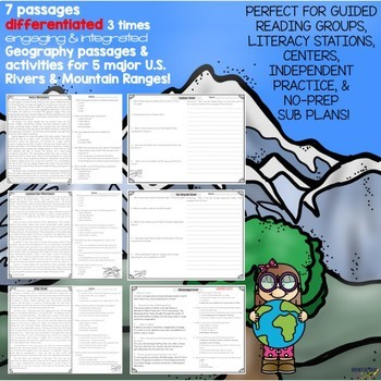 Major Rivers and Mountains of the United States Differentiated Reading Passages