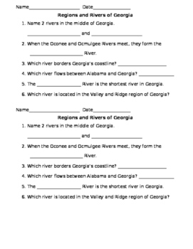 Rivers and Regions of Georgia Quiz