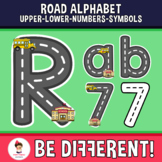 Road Alphabet Clipart Letters ENG.-SPAN. (Upper-Lower-Numb