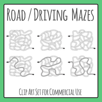 Road / Driving / Transport Themed Mazes Clip Art for Commercial Use