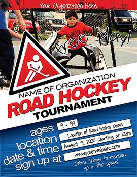 Road Hockey Flyer for Adobe Illustrator