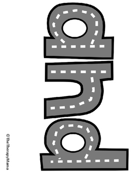 Road Map Printable Letters Numbers Sight Words Sample Set of Cards