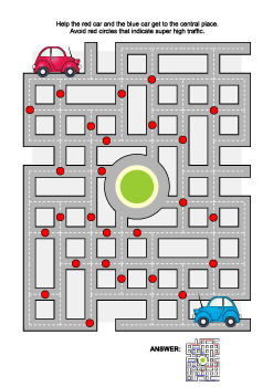Road Maze Game with Red and Blue Cars, Commercial Use Allowed