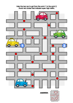 Road Maze Game with Taxi Car, Commercial Use Allowed