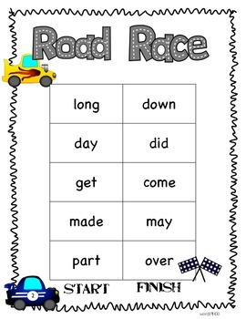 Road Race Sight Word Practice
