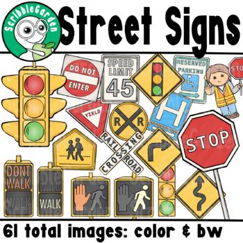 road safety street signs clipart