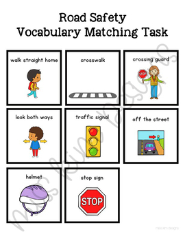 Road Safety Vocabulary Folder Game for Special Education