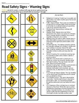 Road Sign Matching Activity - Special Education High School