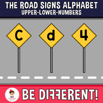 Road Signs Alphabet Clipart Letters ENG.-SPAN. (Upper-Lower-Numbers)
