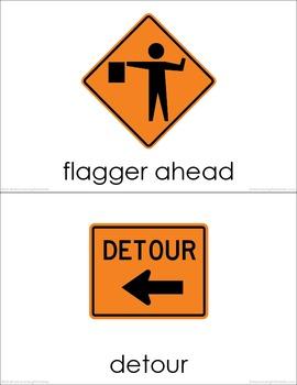 Road Signs BUNDLE (set I, II, III, IV) Picture Flashcards