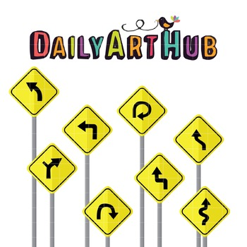Road Signs Clip Art - Great for Art Class Projects!