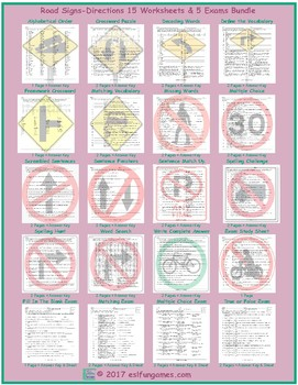 Road Signs-Directions 20 Worksheet and Exam Bundle