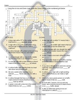 Road Signs-Directions Crossword Puzzle