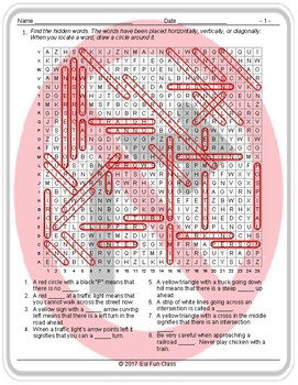 Road Signs-Directions Word Search Worksheet