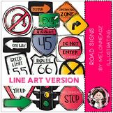 Road Signs clip art - LINE ART- by Melonheadz