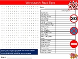 Road Signs Wordsearch Puzzle Sheet Keywords Driving Learning To Drive