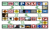 Road Signs and Directions Spanish Legal Size Photo Chutes and Ladders Game