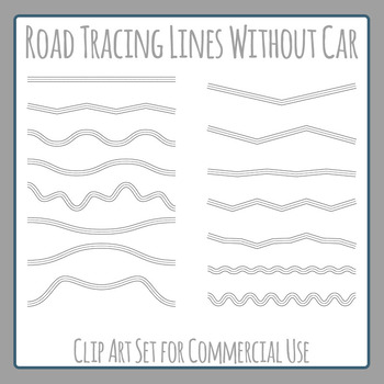 Road Tracing Lines without Car - Clip Art Set for Commercial Use