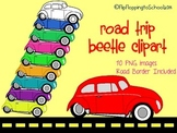 Road Trip Beetle Car Clipart for Personal and Commercial Use