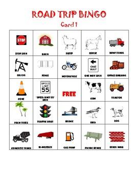 Road Trip Bingo Cards- Set of 3