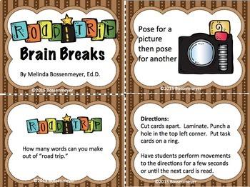 Road Trip Brain Break Cards