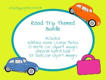 Road Trip Bundle License Plate Luggage Beetle Clipart