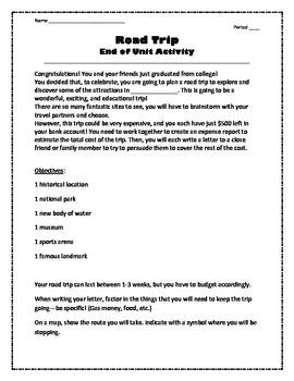 Road Trip: End of Unit Activity
