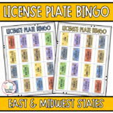 Road Trip Games License Plate Bingo East to Midwest States