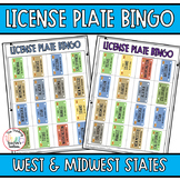 Road Trip Games License Plate Bingo West to Midwest States