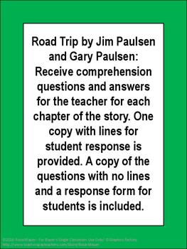 Road Trip Jim and Gary Paulsen Novel Study