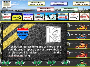 MAP TEST READING VOCABULARY GAME-Road Trip (RIT 141-170)