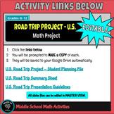Road Trip Math Project - 6th - 12th Grade