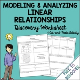 Linear Relationships Discovery Worksheet & Cut and Paste Activity
