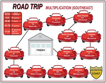 Road Trip Multiplication Games