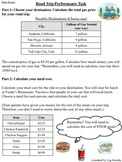 Road Trip Performance Task - Adding and Multiplying Decimals (5.NBT.7)