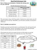 Road Trip Performance Task - Adding and Multiplying Decima