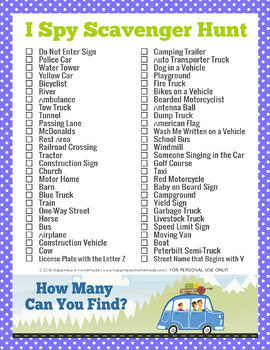 picture relating to Road Trip Scavenger Hunt Printable known as Highway Holiday Scavenger Hunt by means of Pleasure is Do-it-yourself TpT