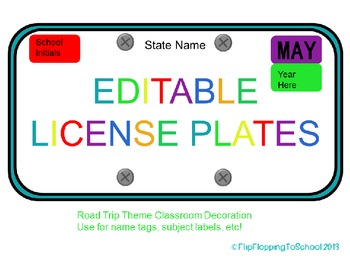 road trip theme editable license plates for names and subjects tpt