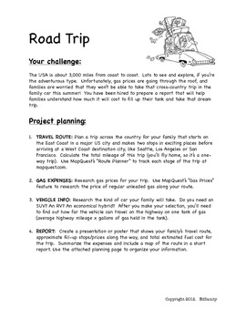 Road Trip: Using multiplication to plan a cross-country trip