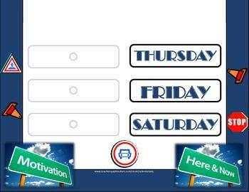 Road Trip Weekday Chart! Road Trip Bulletin Board! Driving Theme! Car Theme!
