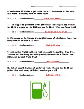 Road Trip Word Problems with Decimals