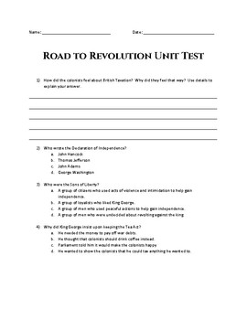 Road to American Revolution Unit Test