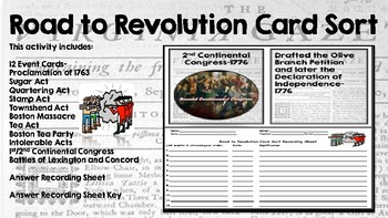 Road to Revolution Card Sort
