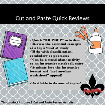 Revolutionary Leaders Cut and Paste Review--NO PREP