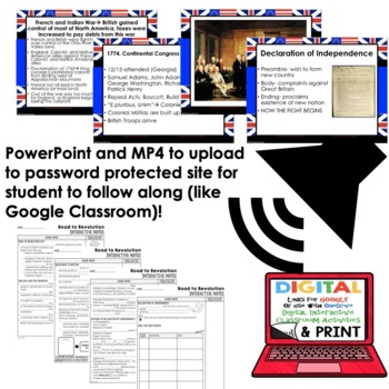 Road to Revolution Interactive Guided Notes and PowerPoints American History