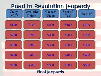 Road to Revolution Jeopardy