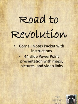Road to Revolution Cornell Notes  and PowerPoint - 8th grade