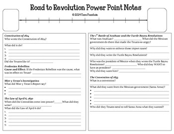 Road to Revolution Power Point Notes - Texas History (goes with powerpoint)